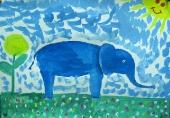 Слон на прогулке /гуашь/ Чередник Диана 6 лет